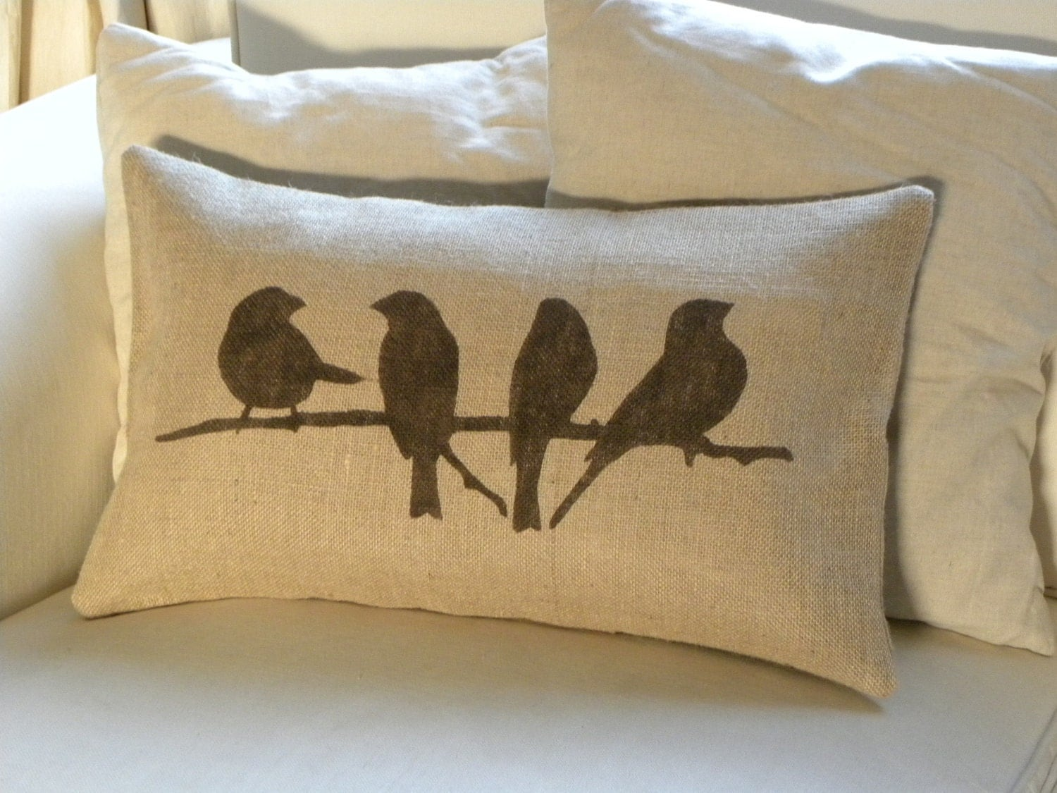 Modern Pillows Etsy : Birds on branch burlap hessian pillow cushion cover by TheNestUK