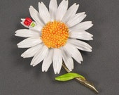 Vintage Enamel Daisy and Ladybug Art Brooch