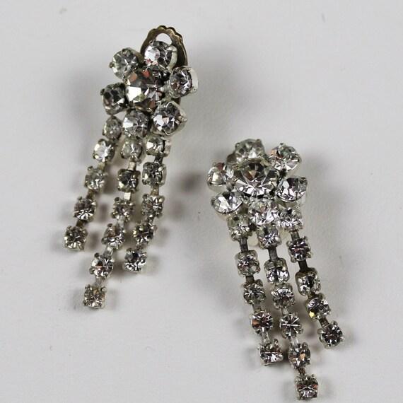 Vintage Rhinestone Made in Austria Clip On Earrings