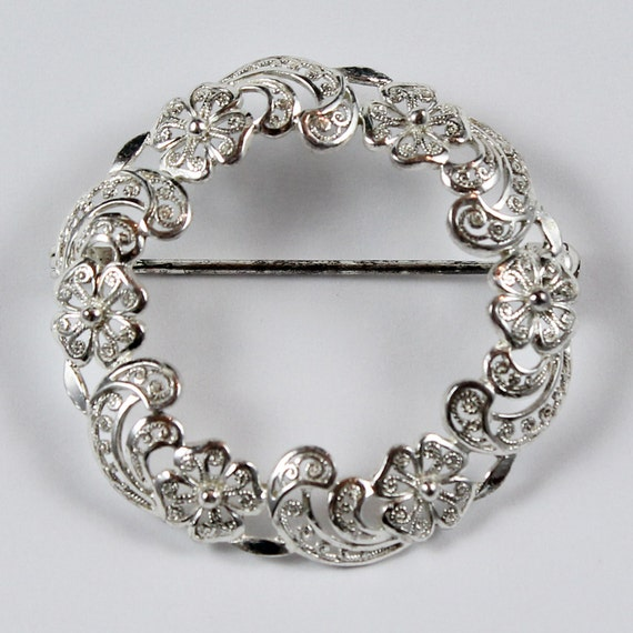Sterling Silver German Filigree Circle Brooch