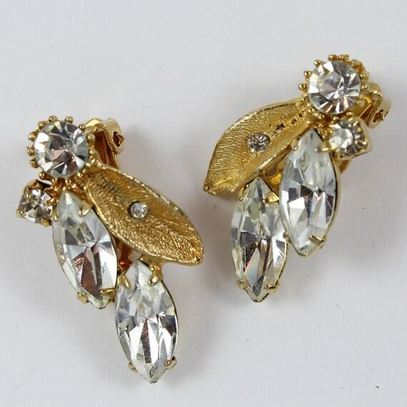Vintage Golden Rhinestone Leaf Earrings