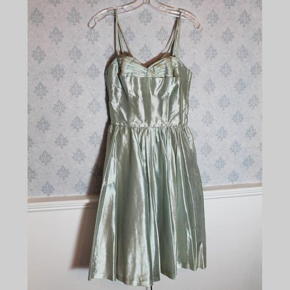1950's Mint Green Silk Vintage Prom Dress