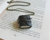 Little Leather Book Necklace with Woven Tie