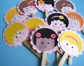Cupcake Toppers Cute Little Faces SET OF 12
