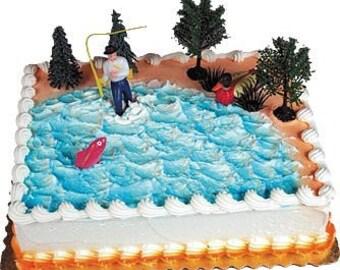 Fisherman Cake Topper Gone Fishing Decoration