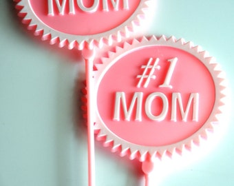 Number 1 Mom Cake Topper in Pink