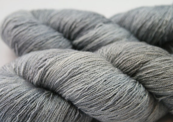 Stormcloak - hand dyed BFL/Silk Guinevere Lace yarn - 100g