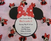 Minnie Mouse Invitations Minnie Birthday Invitations Minnie Baby Shower Birthday Party Invitations Minnie Mouse Head Inspired Die Cut