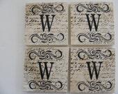 Monogram Coasters Personalize Tile Coasters W Coasters Swirl Coasters Personalized Wedding Gift Coasters - Set of 4 Home Decor