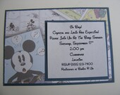 Mickey Mouse Inspired Baby Shower Birthday Party Invitations - Envelopes Included