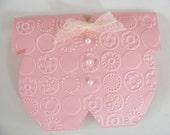 Pink Onesie Baby Card Invitation  - Envelope Included