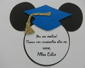 Mickey Mouse Inspired Graduation Thank You Note Tags Party Favor Personalized Item