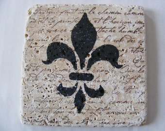 Fleur de lis Coasters Fleur de lis Travertine Tile Coasters French Script Coasters Set of 4 Saints Fan, Home Decor, Hot or Cold Beverages