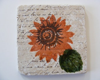 Rust Burnt  Orange Sunflower Tile Drink Coasters - Set of 4 - Perfect for Hot or Cold Beverages and Makes a Great  Gift
