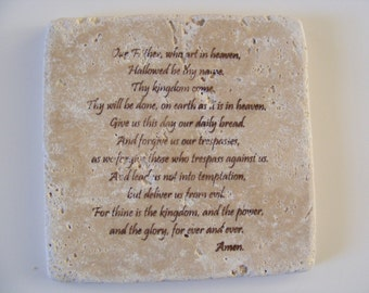 THE LORDS PRAYER Travertine Tile Coasters - Set of 4 - Perfect Gift