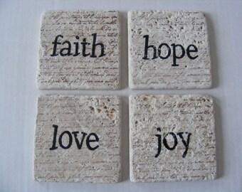 Faith Hope Love Joy Travertine Tile Coasters - Set of 4 - Home Decor