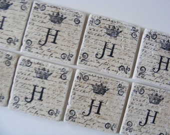 Crown Monogram Coasters Natural Stone Coasters Custom Coasters Gift Under 30 Personalized Tile Coasters - Set of 8
