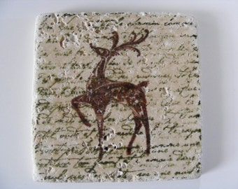 Deer Reindeer Tile Coasters & Trivet Set  - Perfect for Home Decor, Holiday Gift or Keep a Set for Yourself