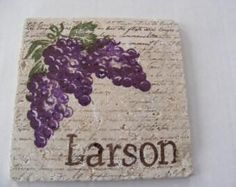 Purple Vintage Grapes Personalized Trivet Coaster - Home Decor and Perfect Hostess Gift Tile Trivet