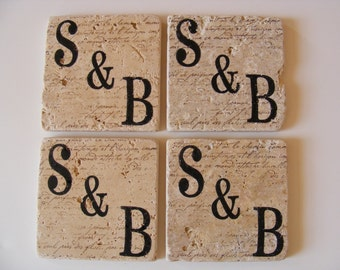 Monogram Coasters Initials Personalized Natural Travertine Tile Coasters Newly Engaged Couple Coasters Wedding Engagement Gift Set of 4