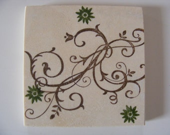 Tile Drink Coasters with a Chocolate Brown Swirl and Olive Green Flower Design - Set of 4
