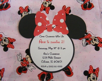 Minnie Mouse Inspired Invitation Baby Shower Birthday Party Invite - Envelope Included