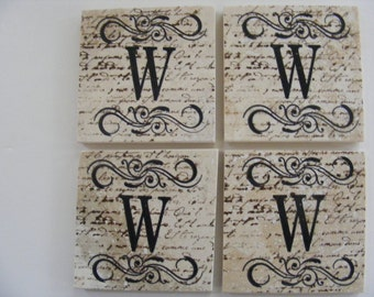Monogram Coasters Personalize Tile Coasters W Coasters Swirl Coasters Personalized Wedding Gift Coasters - Set of 4 Home Decor