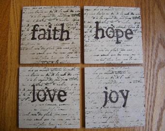 Faith Hope Love Joy Coasters Travertine Tile - Set of 4 - Home Decor