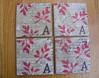 Monogram Red Leaves Coasters Travertine Tile Coasters  - Set of 4 - Unique Gift