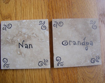 Nan and Grandpa Tile Coasters - Perfect for Grandparents Christmas Holiday Birthday or I Love You Gift