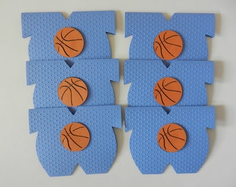 Basketball Onesie Favor Basketball Sports Baby Shower Cards Favor Table Decoration Baseball Soccer Football Basketball Volleyball - Set of 6