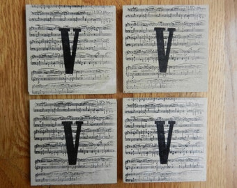 Monogram Music Coasters  Monogram Sheet Music Travertine Tile Coasters Music Teacher Coasters Piano Teacher Coaster Gift Set of 4