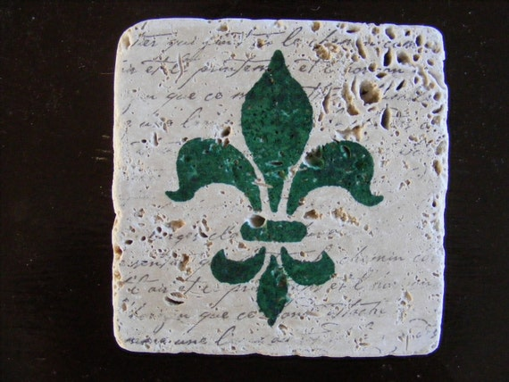 Fleur De Lis Forest Green Coasters Tile with French Script - Perfect for Home Decor, Hot or Cold Beverages, Gift or Keep a Set for Yourself