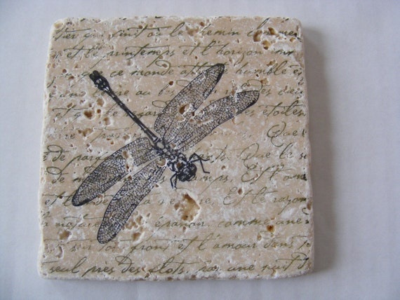 Dragonfly Coasters Dragonfly Travertine Tile Coasters Dragonfly Coaster Drink Set of 4  Dragonfly Home Decor Gift Keep a Set for Yourself