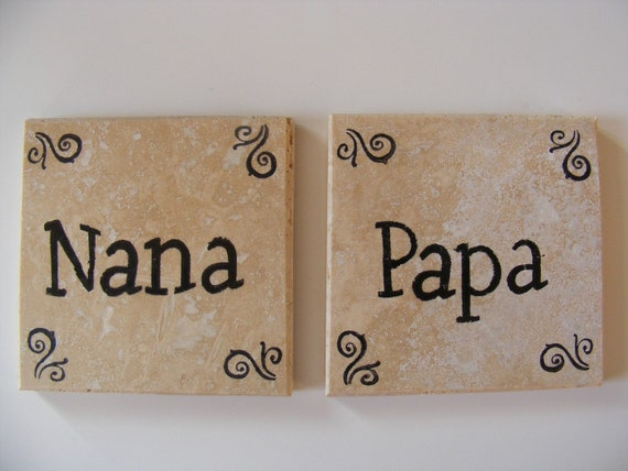 Mom Mothers DayNana and Papa Travertine Tile Coasters  - Perfect for Grandparents Birthday Anniversary or I Love You Gift