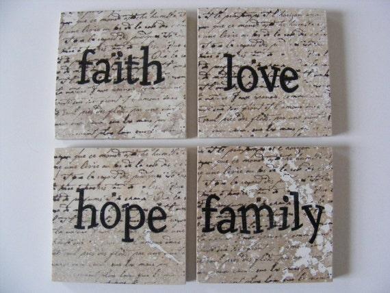 Faith Hope Love Family Coasters Travertine Tile Stone Faith Hope Love Family Coasters Christian Bible Study Gift Coasters Set of 4