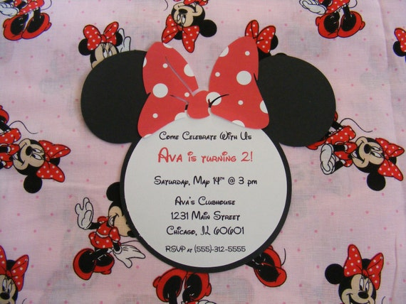 Minnie Mouse Happy  Birthday Party Invitations Thank You Cards Cupcake Toppers Banner  - Custom Listing for Vicki
