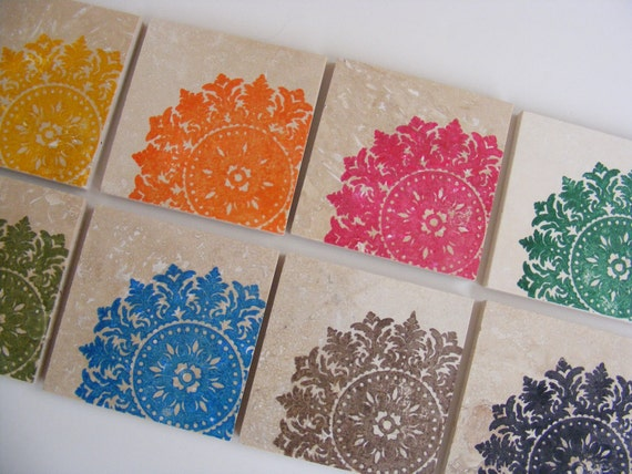 Rainbow Coasters Medallion Tile Coaster Drink Set  Coasters - Set of 8 - Perfect Gift or Home Decor