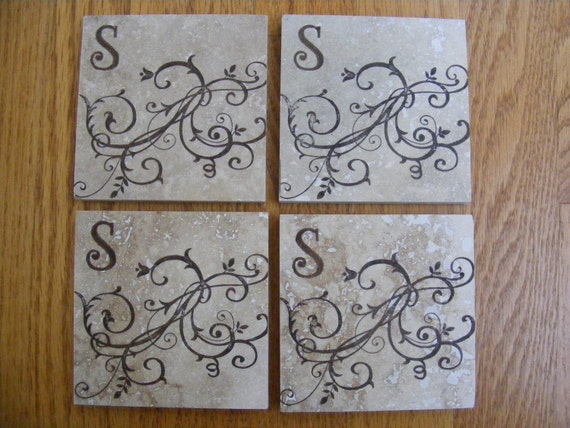 Monogram Coasters Chocolate Brown Swirl Coasters Tile Coasters - Natural Stone Tiles - Set of 4