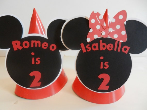 Twins Mickey Minnie Inspired Party Hat - Custom Made with Name - Red Mickey Minnie Birthday Party Hat Favor Cone Hat