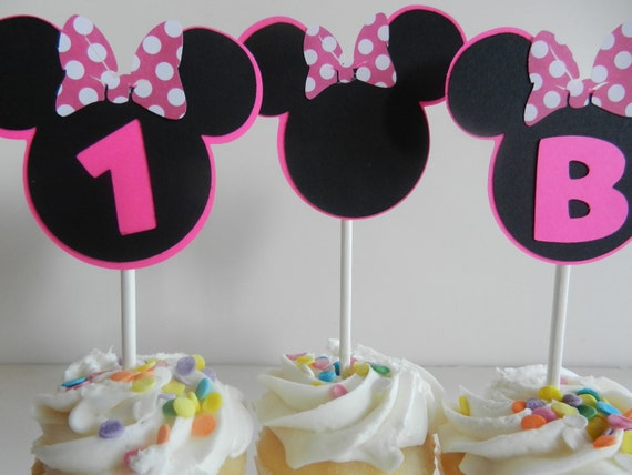 Minnie Inspired Cupcake Toppers - Minnie Mouse Cup Cake Toppers Minnie Mouse Cake Pops - Set of 12