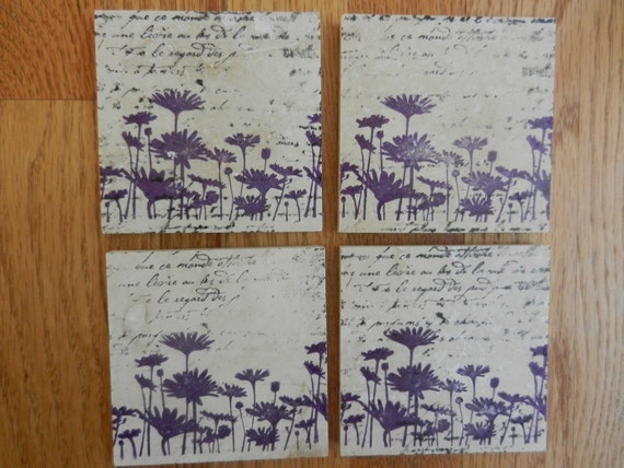 Wildflower Coasters Flower Coasters Purple Wild Flowers Tile Coasters Set of 4 - Home Decor or Makes the Perfect Gift