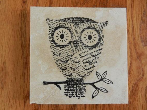 Owl Owls Tile Coasters - Set of 4