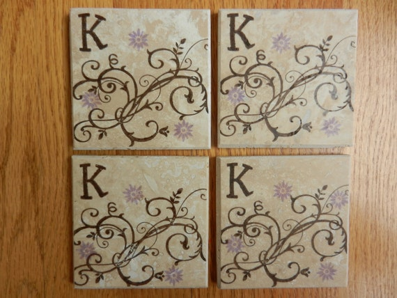 Monogram Coasters Purple Wisteria Flower Coasters Monogram Tile Drink Coasters Chocolate Brown Swirl Design - Set of 4