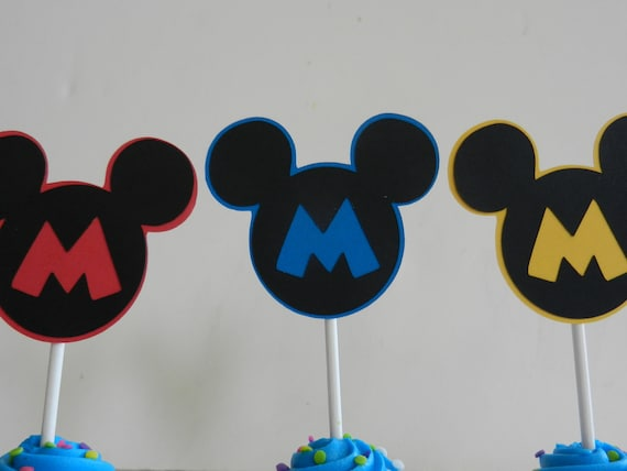 Mickey Cupcake Cake Topper Mickey Mouse Cake Pop Fruit Dessert Mickey Mouse Inspired Cupcake Topper Mickey Birthday Party Red Blue Yellow