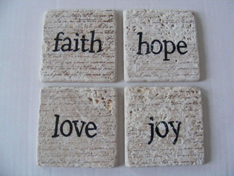 Faith Hope Love Joy Travertine Tile Coasters Set Of 4 Home