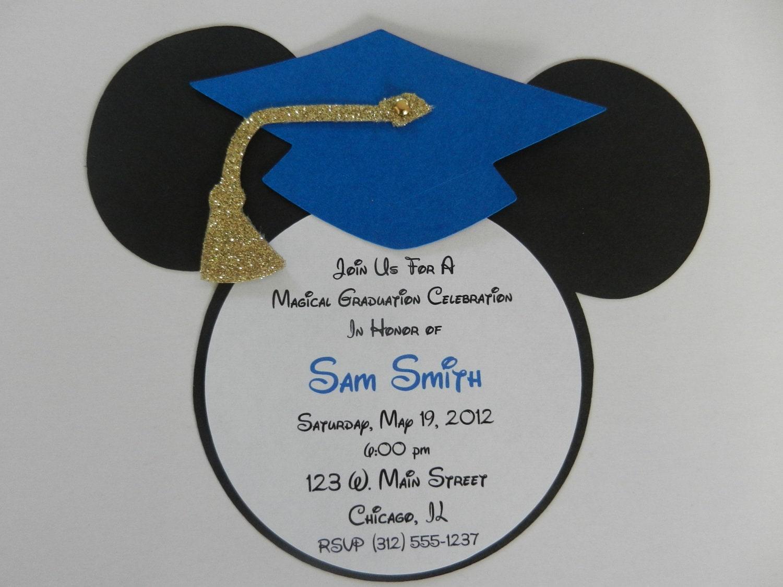 Mickey Mouse Inspired Graduation Invitations Envelopes – Graduation Cap Invitation