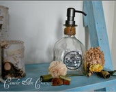 Up-Cycled Patron Bottle Soap Dispenser with Vintage Inspired Hand Painted Label - Circle
