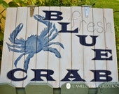 Large Coastal Blue Crab Wood Sign, Beach, Nautical, Hand Painted