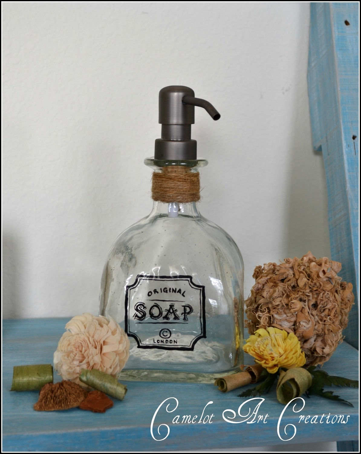 Up Cycled Patron Bottle Soap Dispenser With Vintage Inspired